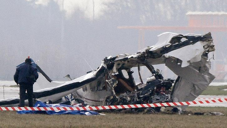 Wreckage of the plane that crashed at Charleroi airport in Belgium. Reuters