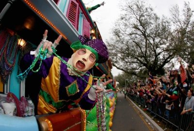 Members of the Krewe of Endymion parade down Orleans Avenue during the weekend before Mardi Gras in New Orleans, Louisiana February 9, 2013. Mardi Gras day will be celebrated on February 12, 2013.