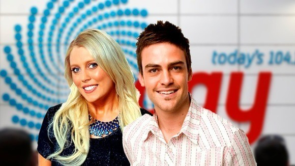 Michael Christian (R) is now at 2Day FM sister-station but former co-host Mel Greig (L) is still off air (Reuters)
