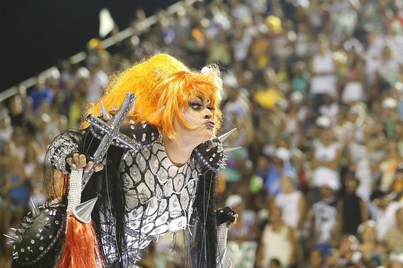 A reveller of Mocidade Independente samba school participates on the first night of the annual Carnival parade in Rio de Janeiros Sambadrome, February 11, 2013.