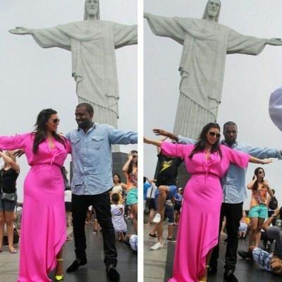 Reality television star Kim Kardashian and her boyfriend Kanye West