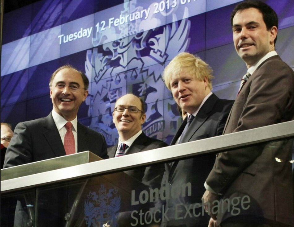 Mayor of London Boris Johnson at the London Stock Exchange (Photo: Twitter)