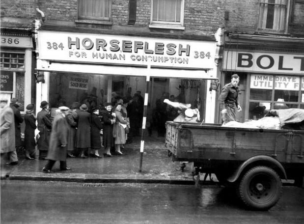 Queue for horsemeat