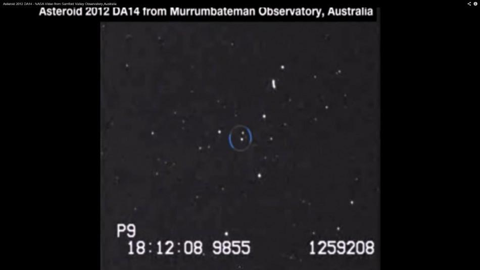 NASA telescope image of the 2012 DA14 asteroid.