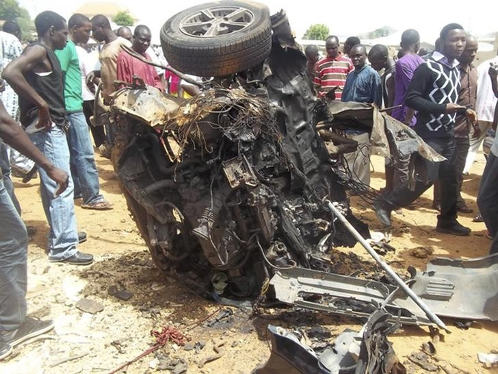 A car bomb explosion outside a church, near the Nigerian city of Bauchi. Although Boko Haram did not claim responsibility, the militant Islamist group Boko Haram regularly targets churches
