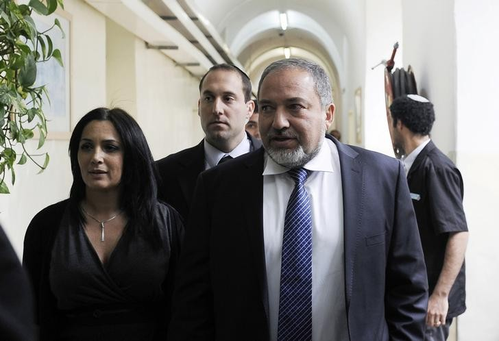 Former Israeli foreign minister Avigdor Lieberman attends court in Jerusalem today.