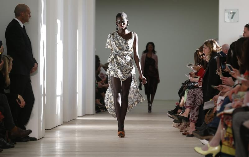 A model presents a creation from the Vivienne Westwood Red Label AutumnWinter 2013 collection during London Fashion Week