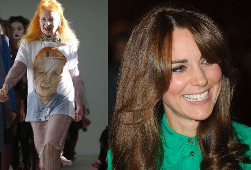 Vivienne Westwood (L) and Kate Middleton, the Duchess of Cambridge