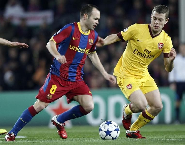 Andres Iniesta and Jack Wilshere