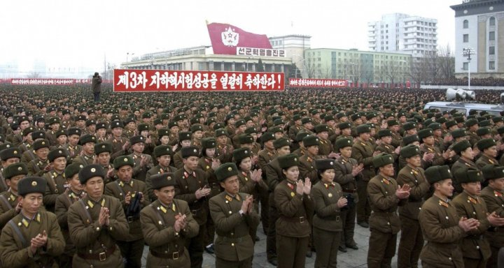 North Korean soldiers attend a rally celebrating the country's third nuclear test at the Kim Il-Sung square in Pyongyang (Reuters)