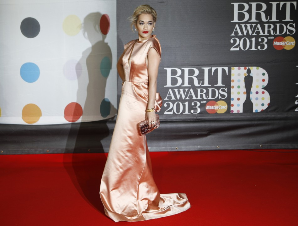 Singer Rita Ora arrives for the BRIT Awards at the O2 Arena in London February 20, 2013.