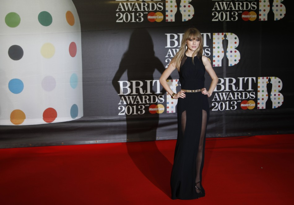 U.S. singer Taylor Swift arrives for the BRIT Awards, celebrating British pop music, at the O2 Arena in London February 20, 2013.