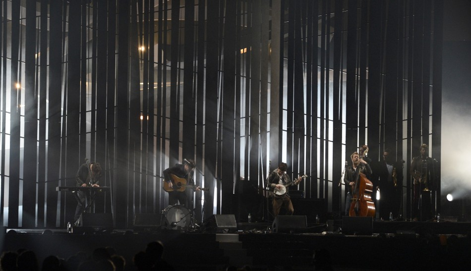 Pop group Mumford  Sons performs during the BRIT Awards, celebrating British pop music, at the O2 Arena in London February 20, 2013.