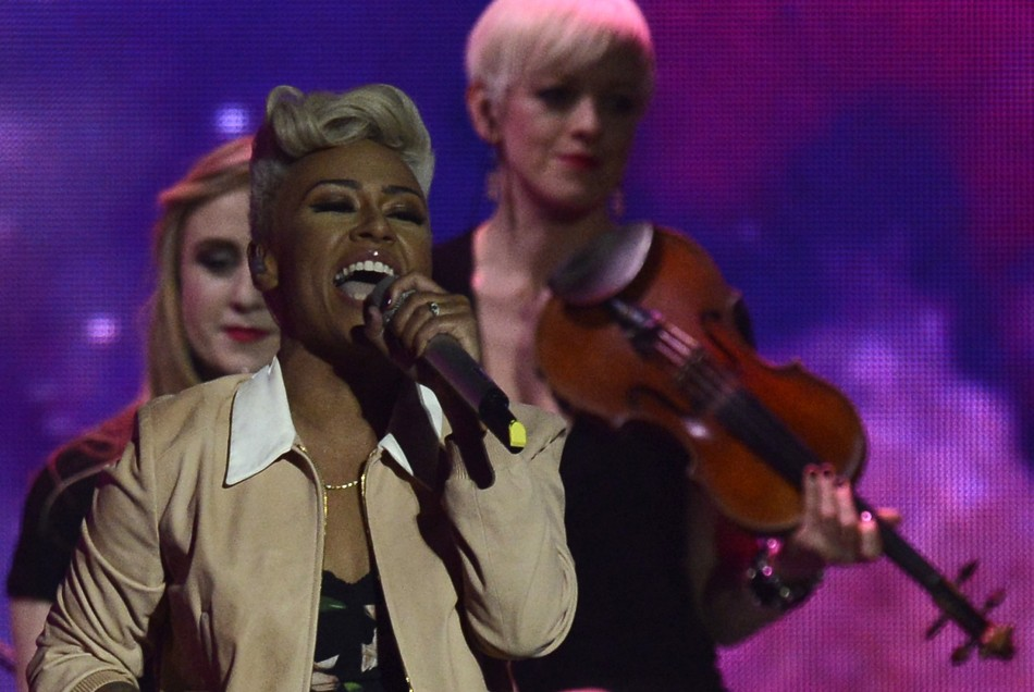 British singer Emeli Sande performs during the BRIT Awards, celebrating British pop music, at the O2 Arena in London February 20, 2013.