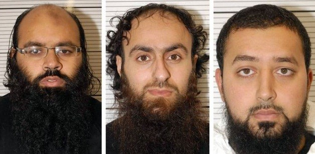(From left) Irfan Naseer, Irfan Khalid and Ashik Ali now face life in jail for terrorist offences (West Midlands Police)