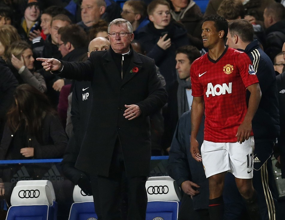 Sir Alex Ferguson (R) and Nani