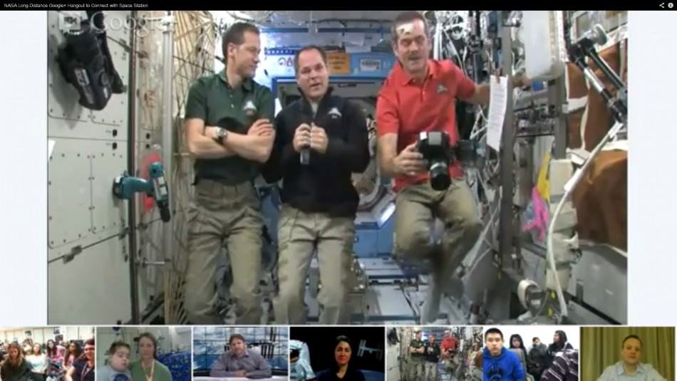 Astronauts (L to R) Marshburn, Ford and Hadfield aboard the International Space Station.