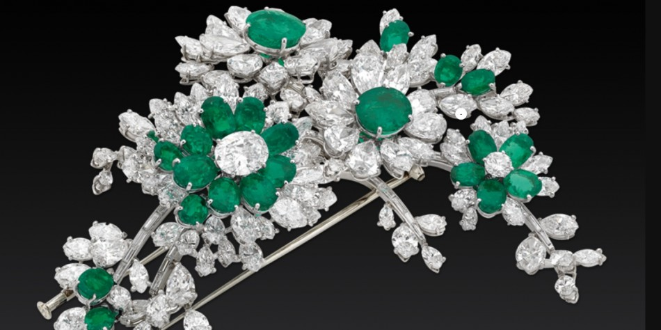 Diamond and emerald brooch from the personal collection of Liz Taylor exhibited by Bulgari this week.