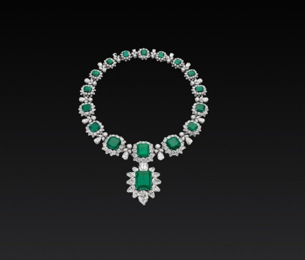 Necklace with emeralds and diamonds from the personal collection of Liz Taylor exhibited by Bulgari this week.