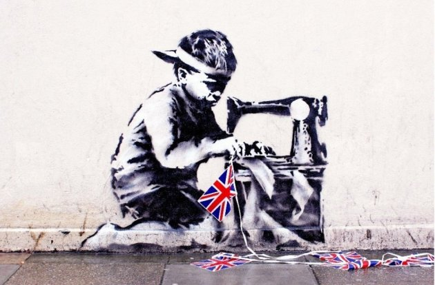 Slave Labour (Bunting Boy) was chiselled off a wall in London and is now up for sale in the USA (liveauctioneers.com)