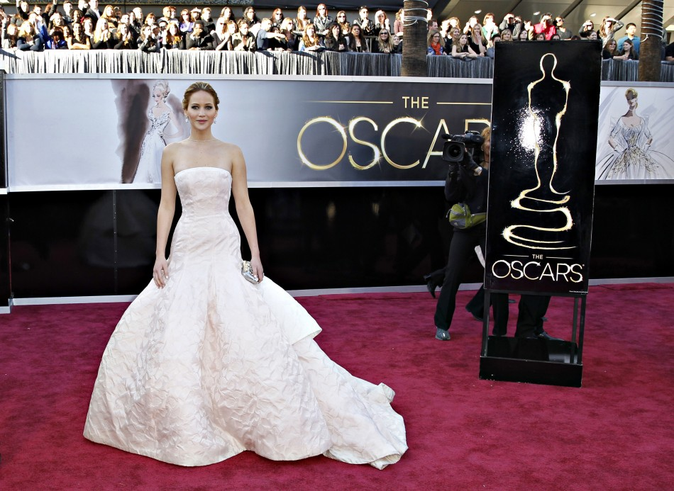 Best Actress nominee Jennifer Lawrence for her role in Silver Linings Playbook arrives at the 85th Academy Awards in Hollywood, California February 24, 2013.