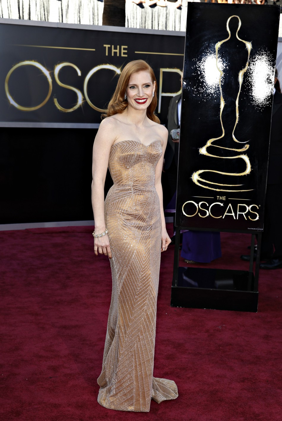 Jessica Chastain, best actress nominee for her role in Zero Dark Thirty, arrives at the 85th Academy Awards in Hollywood, California February 24, 2013.