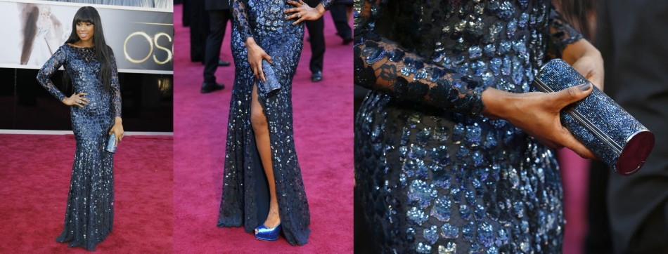 Singer Jennifer Hudson poses in a Roberto Cavalli Couture dress as she arrives at the 85th Academy Awards in Hollywood, California February 24, 2013.