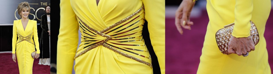 Two-time Oscars winner Jane Fonda, wearing a yellow Versace gown, arrives at the 85th Academy Awards in Hollywood, California February 24, 2013. Detail view of the dress worn by actress and the bag.