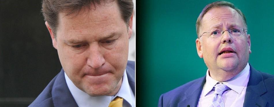 Nick Clegg (l) and Lord Rennard