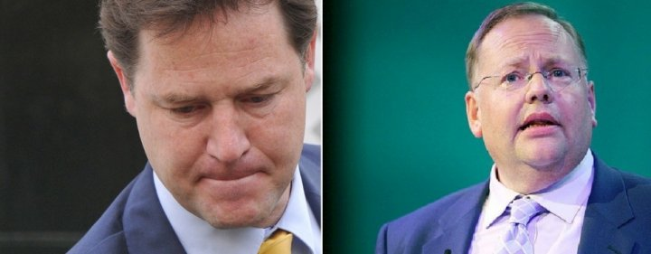 Nick Clegg (l) and Lord Rennard