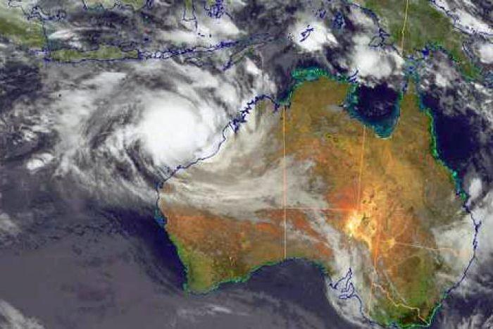 Cyclone Rusty is intensifying as it approaches the Pilbara coast (Bureau of Meteorology)