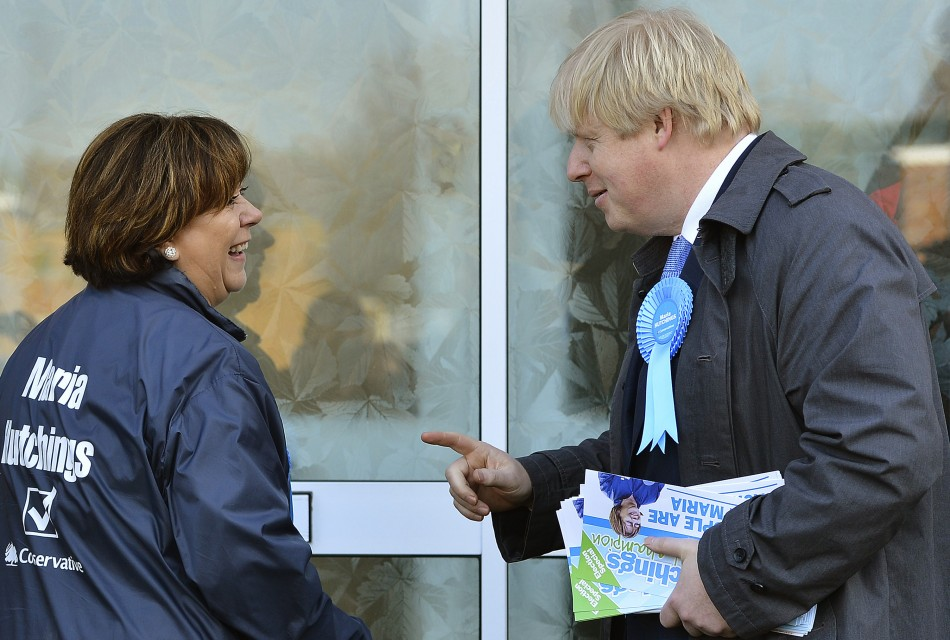Tory candidate Maria Hutchings (l) has been aided by London Mayor Boris Johnson in her campaign