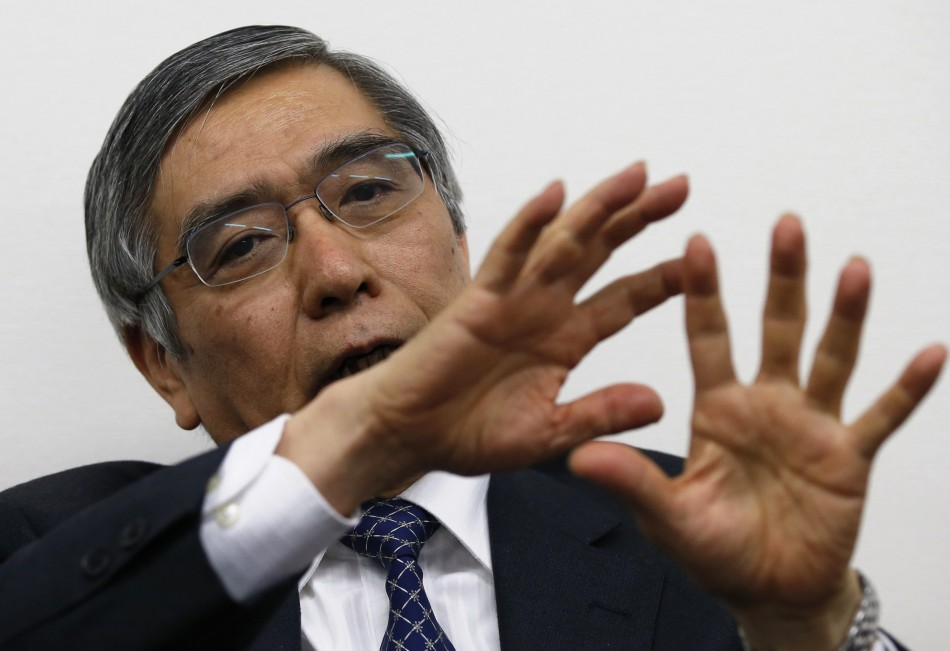 Asian Development Bank President Kuroda speaks during a group interview in Tokyo