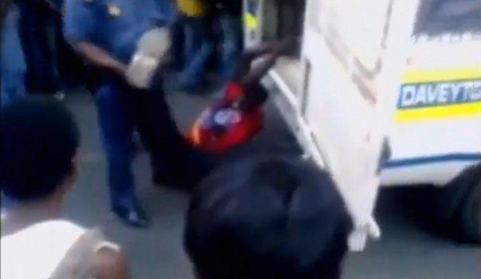 South Africa Police Drag man