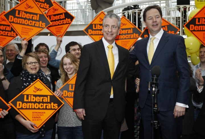 Nick Clegg with Mike Thornton at Eastleigh