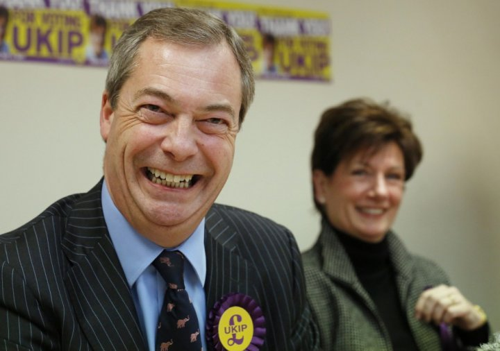 Nigel Farage with Ukip candidate Diane James