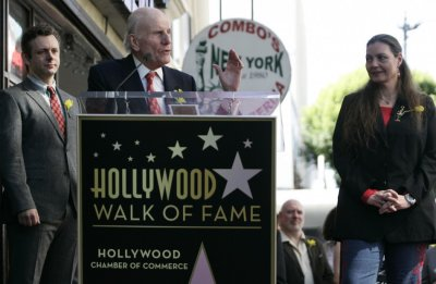 Lord David Rowe-Beddoe, Director of Center Theatre Group and President of Royal Welsh College speaks at a ceremony posthumously honoring actor Richard Burton with a star on the Hollywood Walk of Fame in Hollywood, California, March 1, 2013.