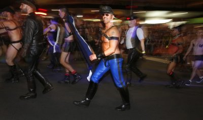 Members of the group Sydney Leather Pride participate in the 35th annual Sydney Gay and Lesbian Mardi Gras parade March 2, 2013.