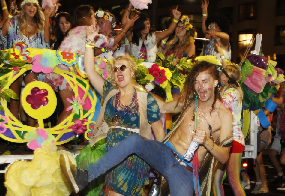 Members of the group Snatch and Grab participate in the 35th annual Sydney Gay and Lesbian Mardi Gras parade March 2, 2013.