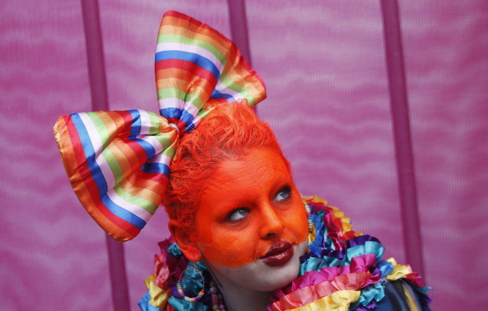 A participant prepares to march in the 35th annual Sydney Gay and Lesbian Mardi Gras parade March 2, 2013.