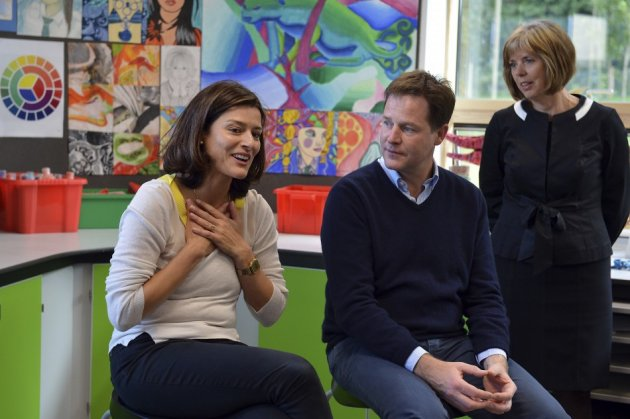 Nick Clegg with wife Miriam at a school