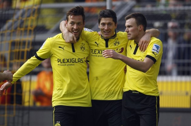 Borussia Dortmund players celebrate a goal