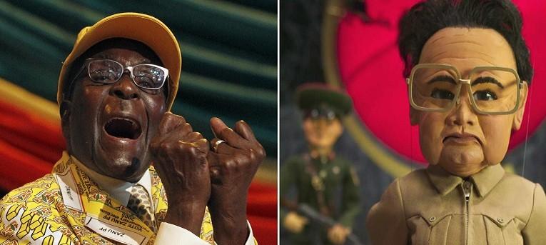 Robert Mugabe (l) and puppet Kim Jong-Il