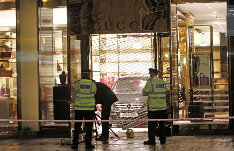 The Mercedes smashed through the Gucci store on Sloane Street (Twitter/HuffPostUK)