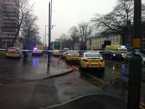 Police at the scene of the stabbing