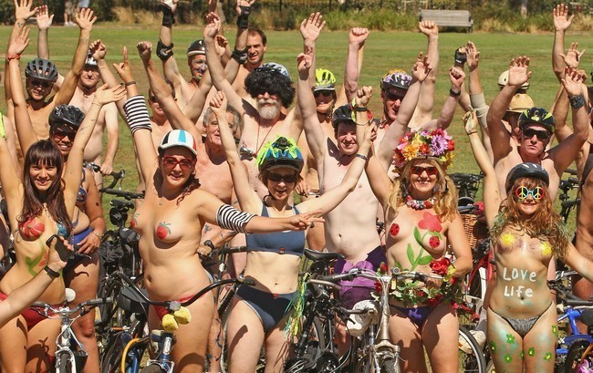 The World Naked Bike Ride took to the roads, despite fears over local nudity laws