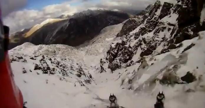 The whole fall was film via Mark Roberts' head-cam (YouTube)