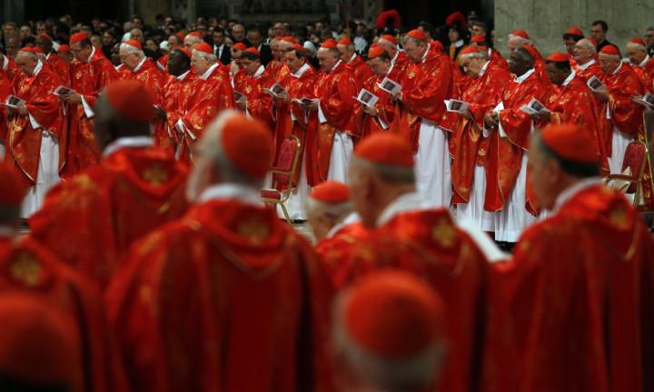 Cardinals attend a mass in St. Peter's Basilica