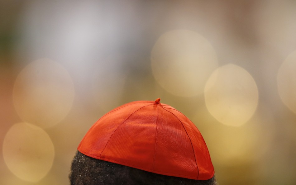 A Cardinal cap is pictured during a mass in St. Peter's Basilica at the Vatican March 12, 2013. All cardinals, including those over 80 who will not vote in the conclave, celebrate Mass in St Peter's Basilica to pray for the election of the new pope. The Mass is called