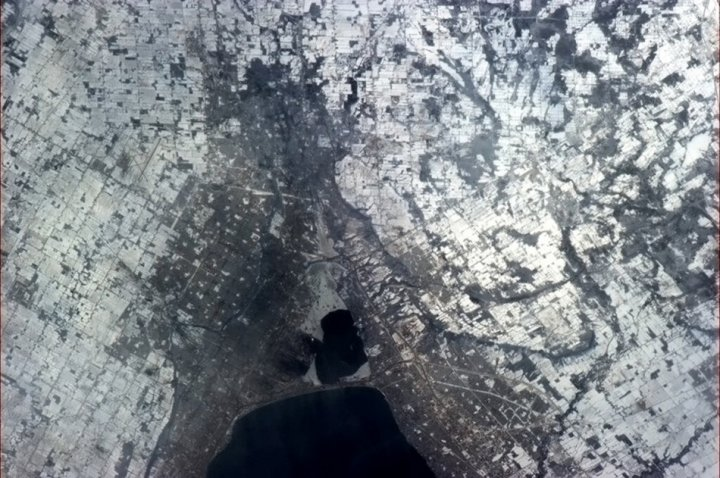 Hadfield's home state of Ontario as snapped by him from the ISS